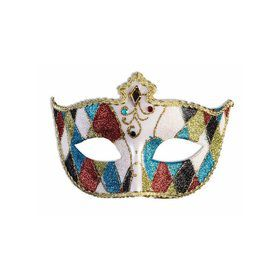 Diamonds Half Mask With Ribbon Tie