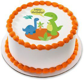 "Dino Birthday 7.5"" Round Edible Cake Topper (Each)"