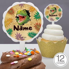 Dinosaur Adventure Personalized Cupcake Picks (12 Count)
