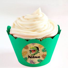 Dinosaur Adventure Personalized Cupcake Wrappers (Set of 24)