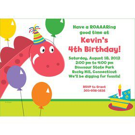 Dinosaur Birthday Personalized Invitation (each)
