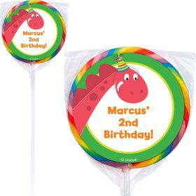 Dinosaur Birthday Personalized Lollipop (12 Count)