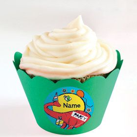 Dinosaur Fun Personalized Cupcake Wrappers (Set of 24)