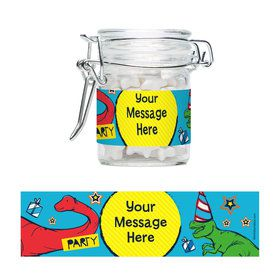 Dinosaur Fun Personalized Glass Apothecary Jars (12 Count)
