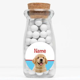 "Dog Party Personalized 4"" Glass Milk Jars (Set of 12)"