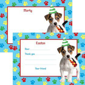 Dog Party Personalized Thank You Note