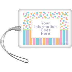 Dots and Stripes Baby Shower Personalized Bag Tag (Each)