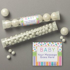 Dots and Stripes Baby Shower Personalized Candy Tubes (12 Count)