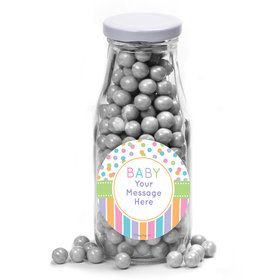 Dots and Stripes Baby Shower Personalized Glass Milk Bottles (12 Count)