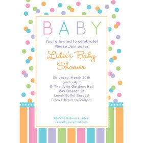Dots and Stripes Baby Shower Personalized Invitation (Each)