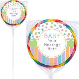 Dots and Stripes Baby Shower Personalized Lollipops (12 Pack)