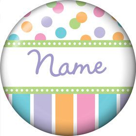 Dots and Stripes Baby Shower Personalized Mini Button (Each)