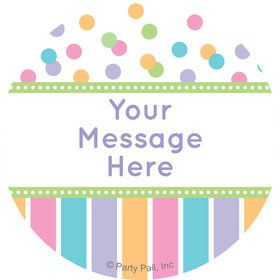 Dots and Stripes Baby Shower Personalized Mini Stickers (Sheet of 24)