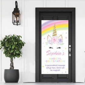 Dreamy Unicorn Party Personalized Banner 30 X 60 Inches (Each