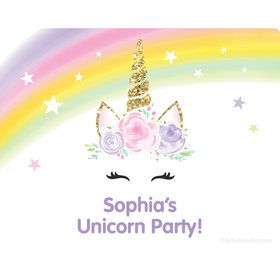 Dreamy Unicorn Personalized Rectangular Stickers (Sheet of 15)