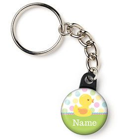 "Duckie Dots Personalized 1"" Mini Key Chain (Each)"
