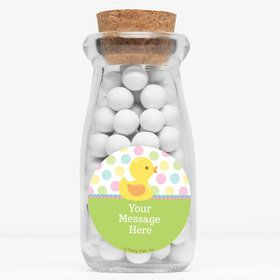 "Duckie Dots Personalized 4"" Glass Milk Jars (Set of 12)"
