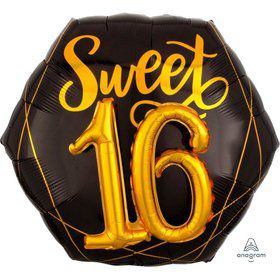 Elegant Sixteen 26 Jumbo Shaped Foil Balloon