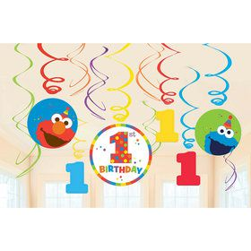 Elmo Turns One Swirl Decorations