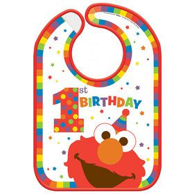 Elmo Turns One Vinyl Baby Bib