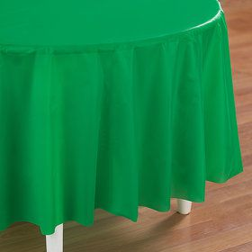 Emerald Green (Green) Round Plastic Tablecover