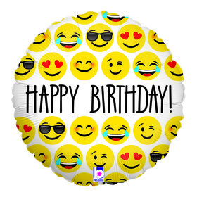 "Emoji Birthday 18"" Balloon"