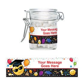 Emoji Graduation Personalized Glass Apothecary Jars (12 Count)