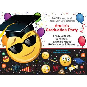 Emoji Graduation Personalized Invitation (Each)