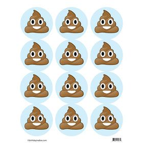 Emoji Poop Stickers (Sheet of 12)