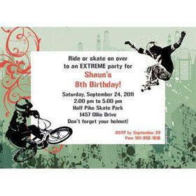 Extreme Sports Personalized Invitation (each)