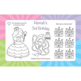 Fairytale Princess Personalized Activity Mats (8-Pack)