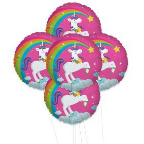 Fairytale Unicorn Party 5pc Foil Balloon Kit