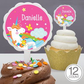 Fairytale Unicorn Personalized Cupcake Picks (12 Count)