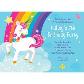 Fairytale Unicorn Personalized Invitation (Each)