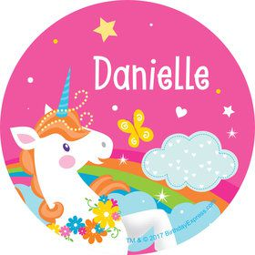 Fairytale Unicorn Personalized Mini Stickers (Sheet of 24)