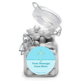 Faith Blue Personalized Glass Apothecary Jars (12 Count)