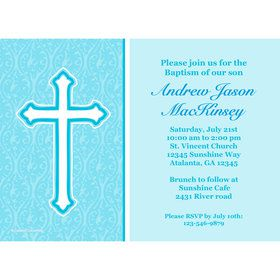 Faith Blue Personalized Invitation (Each)