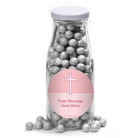 Faith Pink Personalized Glass Milk Bottles (12 Count)