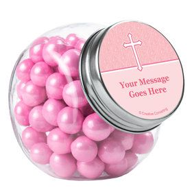 Faith Pink Personalized Plain Glass Jars (12 Count)