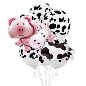 Farm Animal Pig Cow Jumbo Balloon Bouquet