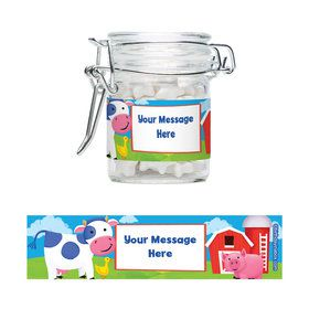Farm Animals Personalized Glass Apothecary Jars (10 Count)