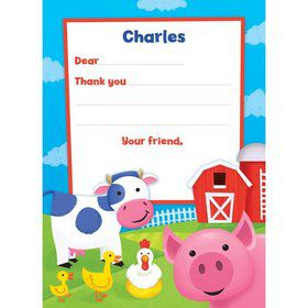 Farm Animals Personalized Thank You Note (each)