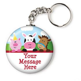 "Farmhouse Fun Personalized 2.25"" Key Chain (Each)"
