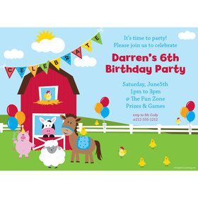 Farmhouse Fun Personalized Invitation (Each)