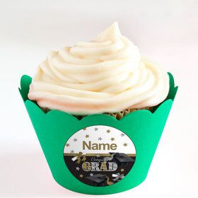 Festive Graduation Personalized Cupcake Wrappers (Set of 24)