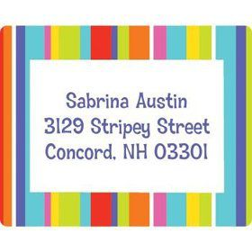 Festive Stripes Personalized Address Labels (sheet of 15)