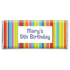 Festive Stripes Personalized Candy Bar Wrapper (Each)