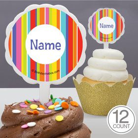 Festive Stripes Personalized Cupcake Picks (12 Count)