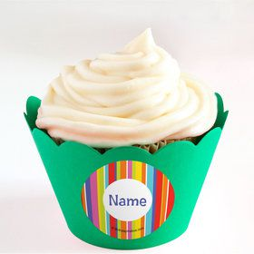 Festive Stripes Personalized Cupcake Wrappers (Set of 24)