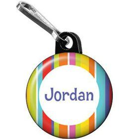 Festive Stripes Personalized Mini Zipper Pull (each)